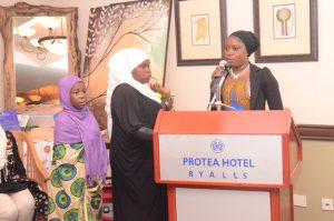 Three Muslim girls from MASYAP presenting at Protea Hotel Ryalls
